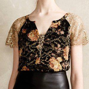 ANTHROPOLOGIE Disa velvet lace floral blouse 2